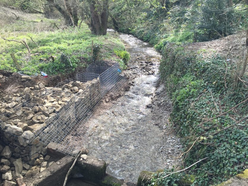 River bed was excavated back to the bed removing all spoil from site, then we started installing the gabion baskets by MJS Building Maintenance Ltd.
