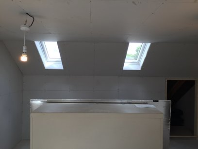 Velux windows were boarded with a splayed opening to enhance light. in Devon