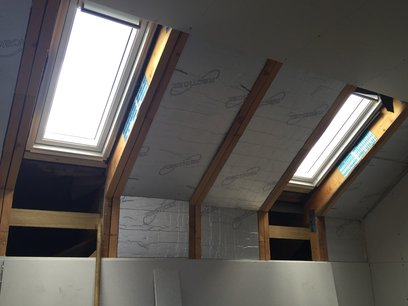 MJS installed 4 Velux windows, 2 on each side. With all timber rafters trimmed out. in Devon