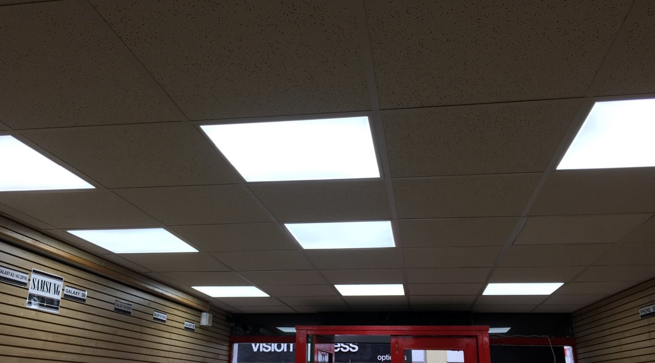 The shop ceiling was finished with a suspended ceiling grid and LED lighting.   All works carried out and managed by MJS Building Maintenance LTD.  The shop was shut for 5 days limiting the loss of earnings to the shop tenant.