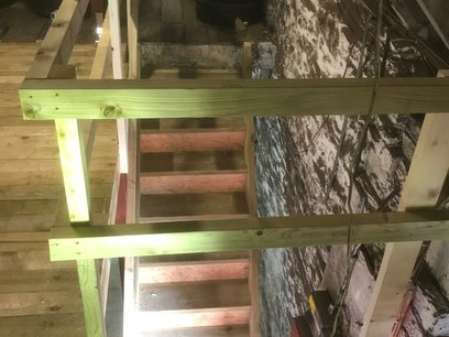 Mezzanine floor stairs being constructed