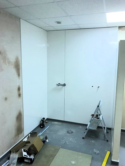 Hygienic wall panelling installed