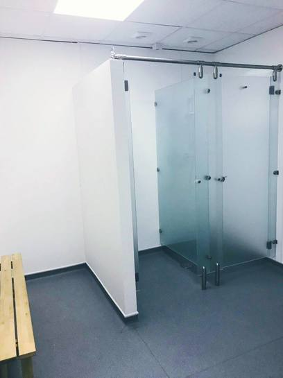 Shower cubicle easy clean, hygienic opaque panels and doors fitted.