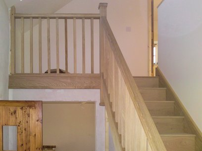 Solid oak staircase installation in Devon