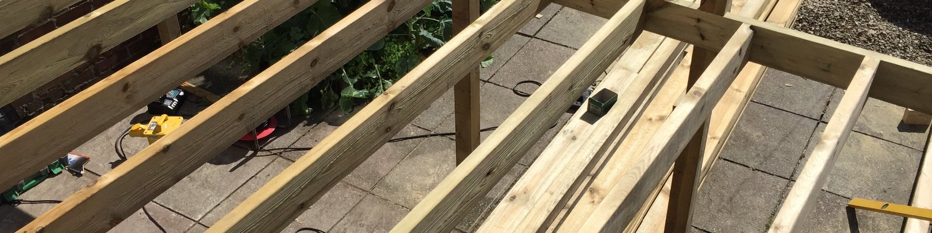 High level decking construction over back yard