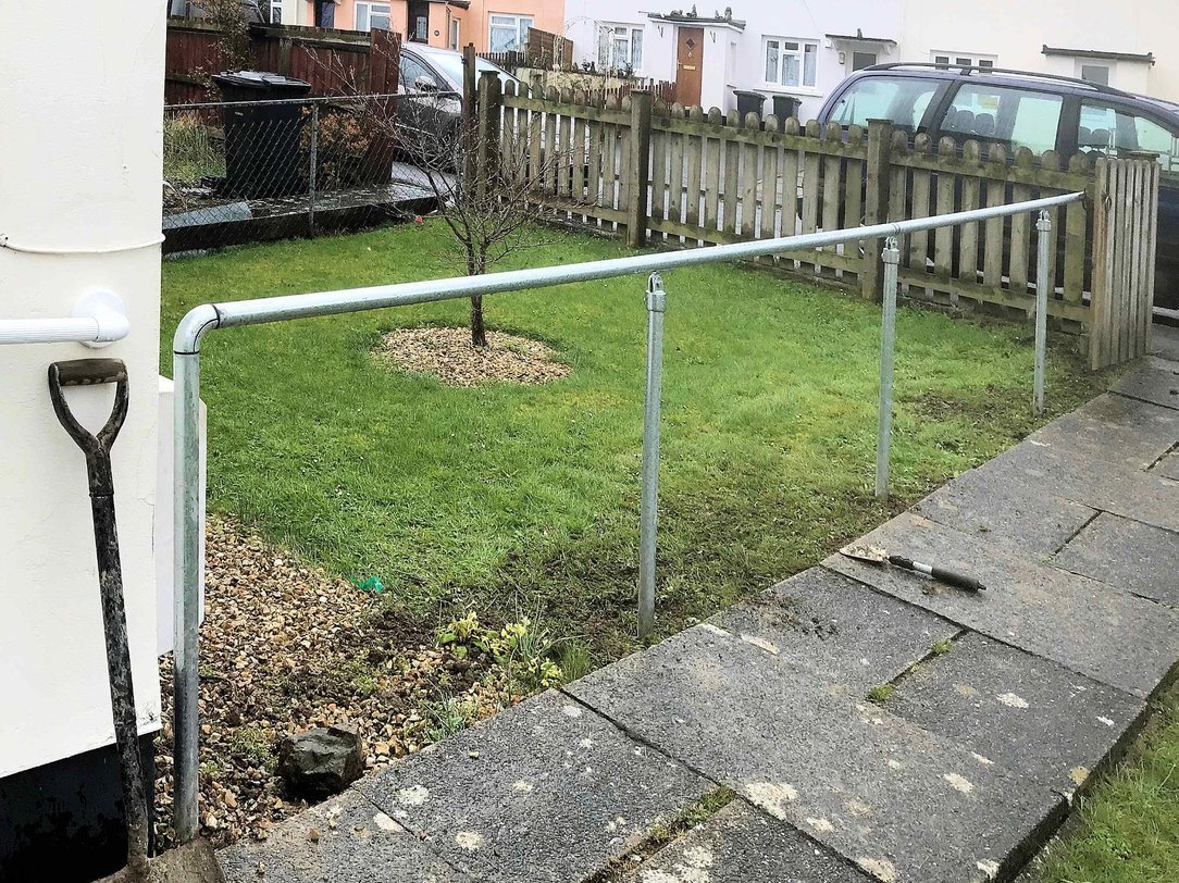 Keyclamp handrail installation for front garden entrance path in North Devon