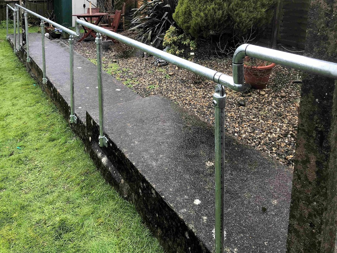 Keyclamp handrail installation for rear garden path in North Devon