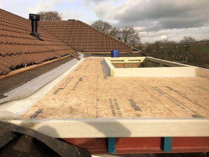 OSB interlocking boarding and fiberglass GRP trims installed for new summer room, North Devon