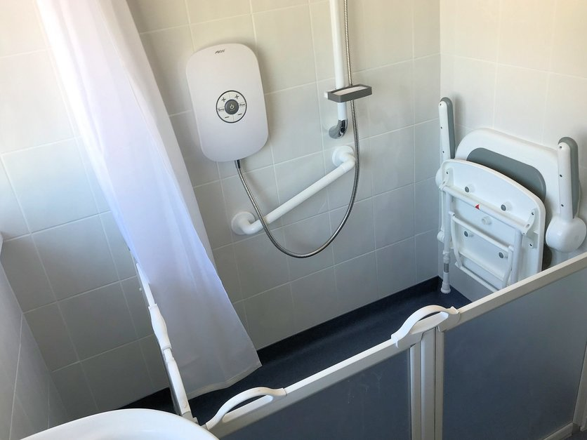 Walk in shower installation with fold down seat Barnstaple