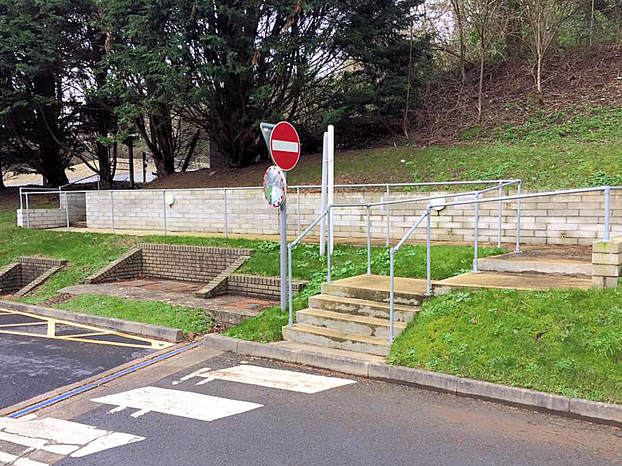 New carpark access steps and pathway with retaining wall. Key clamp hand rails and external footpath lighting North Devon