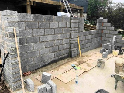 Garage block walls construction, 225mm block pillar construction on main openings and central pillars. North Devon