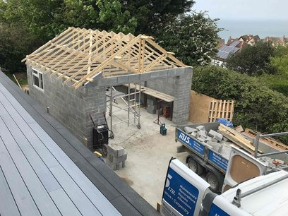 Garage progress over view North Devon