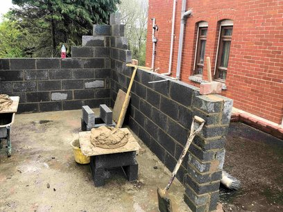 100mm block wall construction with 225mm pillars in the opening, Barnstaple North Devon