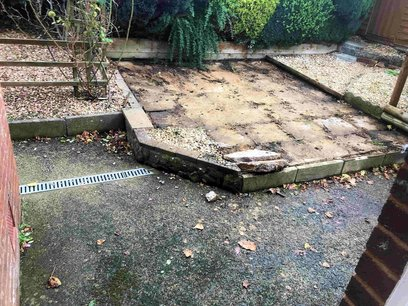 Uplift and removal of the old uneven patio slabs North Devon