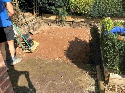 Preparing ground for new hard standing area to the rear of the bungalow. North Devon