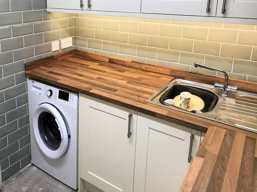 Block wood worktops with upstands part of kitchen installation, Barnstaple Devon