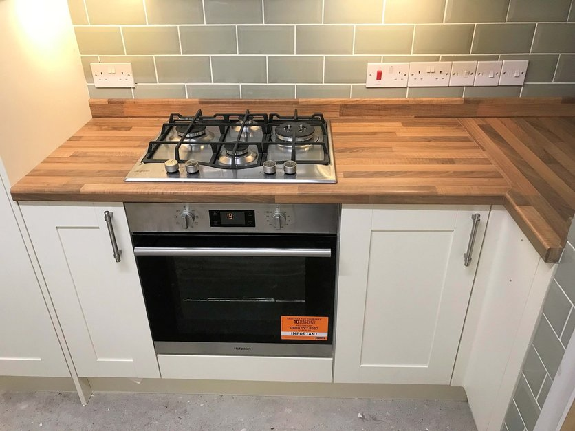 Integrated cooker and hob part of kitchen installation. Barnstaple Devon