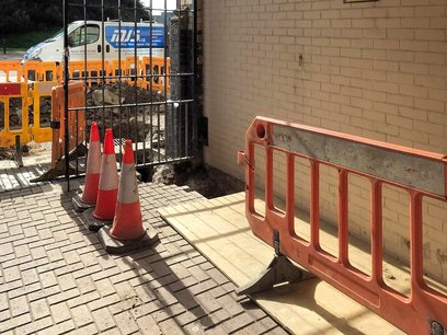 Trench excavated to street for new electrial supply Barnstaple North Devon