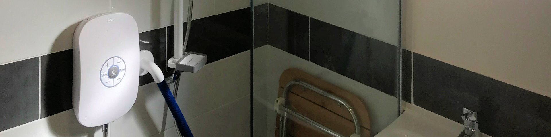 Level access shower with vision aids, Barnstaple North Devon