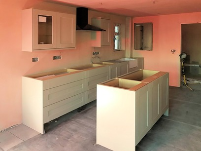 Kitchen with island, drawer fronts added to assembled units. Barnstaple North Devon