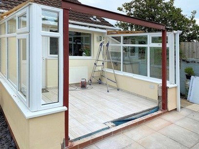 Steel goal posts and top beam installed Conservatory Conversion. Barnstaple North Devon